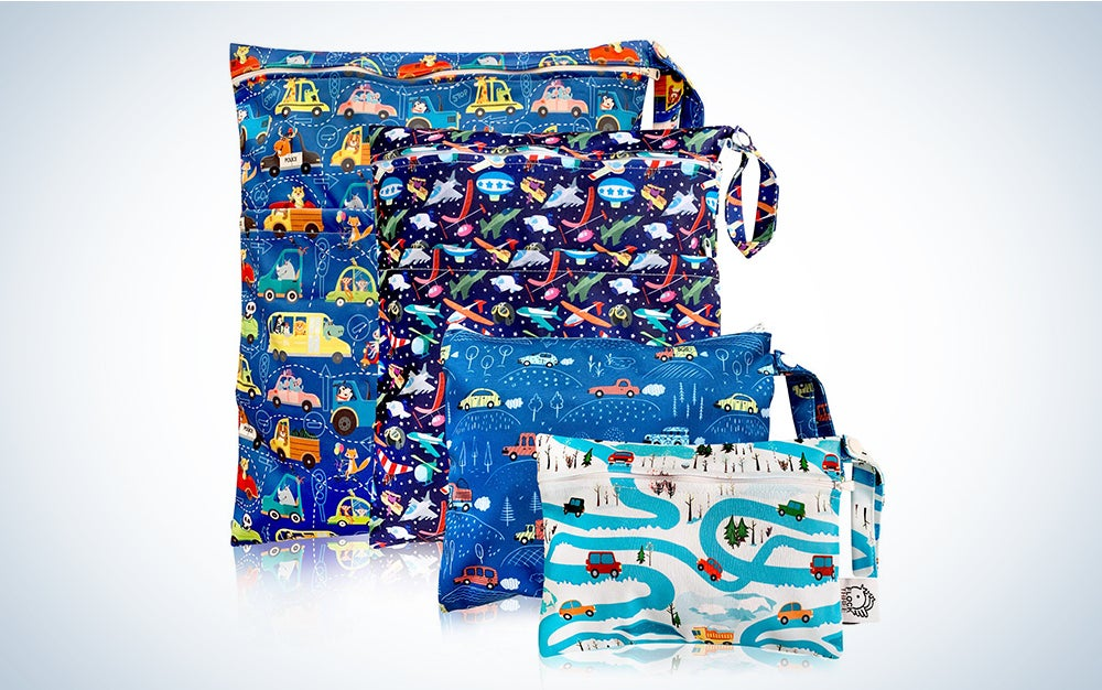 Waterproof and Reusable Wet Bag Diaper Stroller Water Resistant Swimsuit Travel Toiletries Yoga Gym Washable Carrier Small Medium Large Car 4 Pack