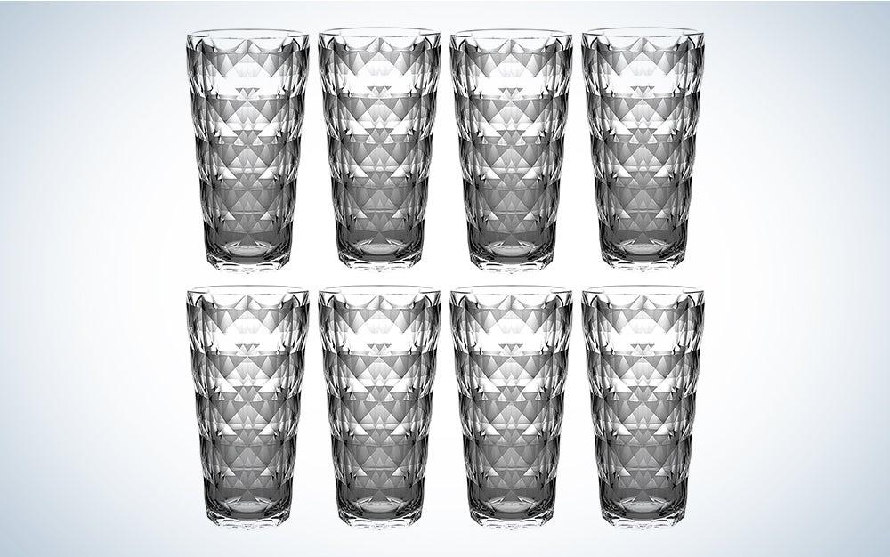 QG 22 fl oz. Diamond Cut Pattern Clear Smoke Grey Acrylic Plastic Tumbler Set of 8