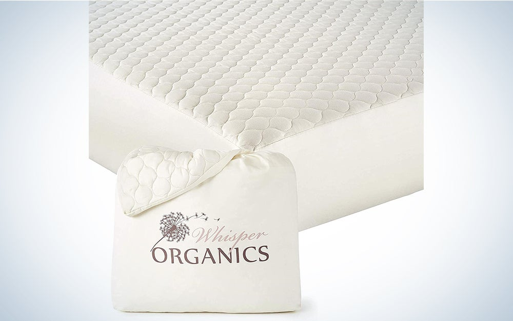 Whisper Organics, 100% Organic Mattress Protector - Quilted Fitted Mattress Pad Cover, GOTS Certified Breathable Mattress Protector - Ivory Color, 17″ Deep Pocket (Queen Size Bed)