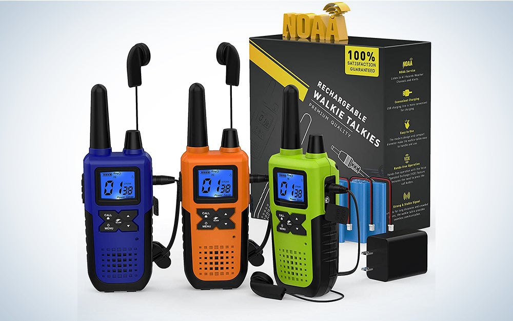 3 Long Range Walkie Talkies Rechargeable for Adults - NOAA FRS GMRS UHF 2 Way Radios Walkie Talkies - CB Long-distance 2way Walkie Talkies with Earpiece Mic Weather Alert USB Cable Charger(K10 Colors)
