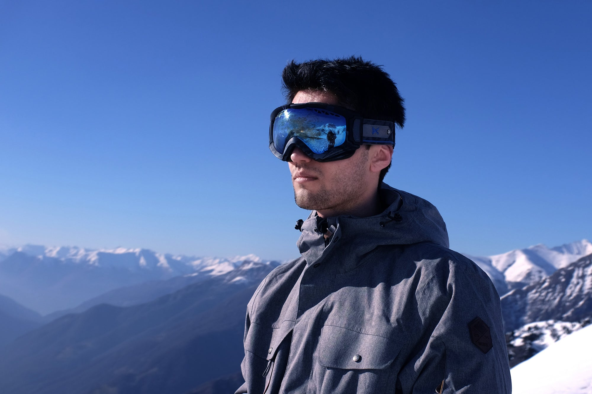 man wearing ski goggles on a mountain