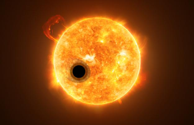 WASP-107b orbiting in front of its star