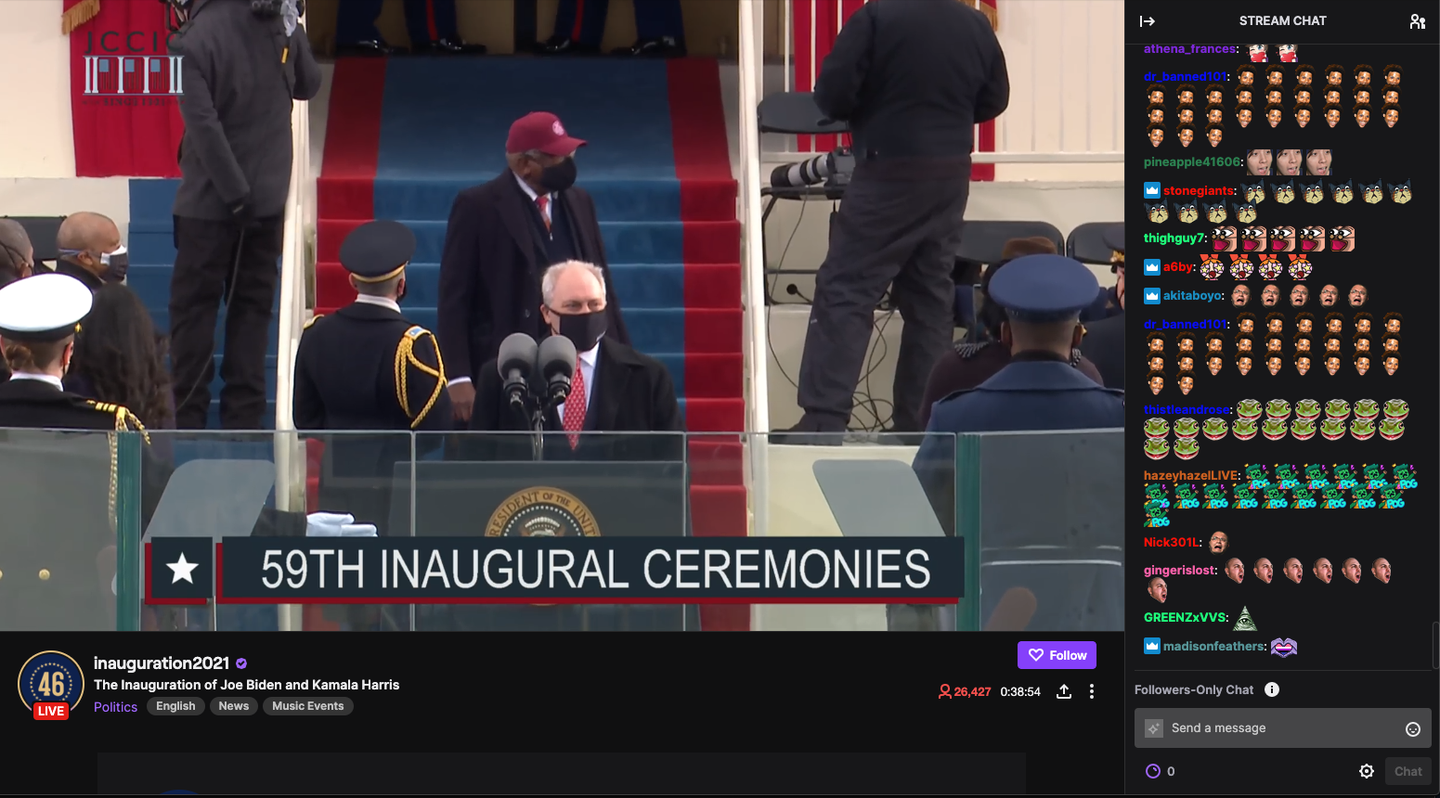 Live inauguration coverage on Twitch with emojis in the chat.