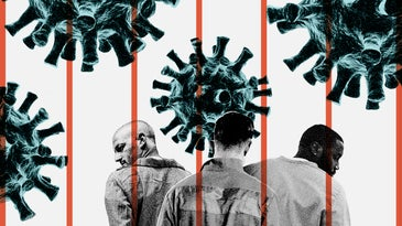 Three people in prison jumpsuits behind orange bars and the SARS-CoV-2 virus illustrations superimposed in four spots