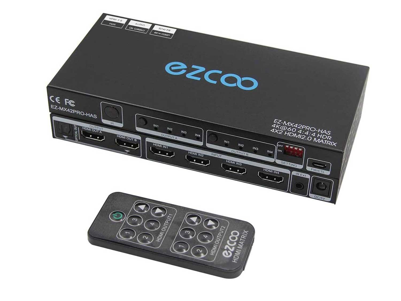 HDMI Matrix 4 In 2 Out 4K 60Hz 4:4:4 HDR Vision Atmos 18Gbps SPDIF 5.1CH -PC Console 16 EDID,D-o-l-b-y Vision Atmos Sync, HDMI Scaler 4K 1080P Sync,HDCP2.2 HDMI2.0 Matrix 4x2 IR Remote,IR Ext. MX42PRO