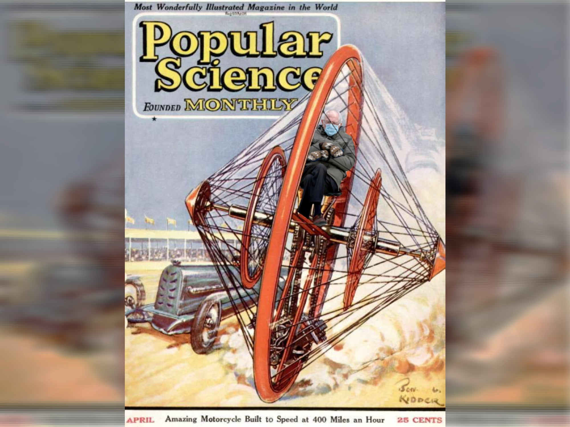 US Senator Bernie Sanders edited into a vintage Popular Science magazine cover to look like he's driving an experimental single-wheel motorcycle.