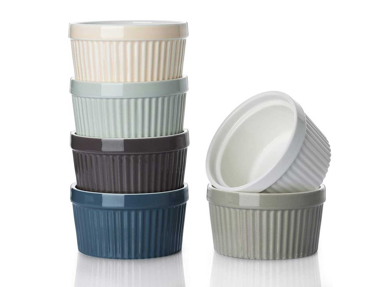 DOWAN Ramekins 8 oz Oven Safe - Creme Brulee Ramekins for Baking, Porcelain Ramekins Oven Safe, Classic Style Souffle Ramekins Ramekins Bowls, Set of 6, Colorful