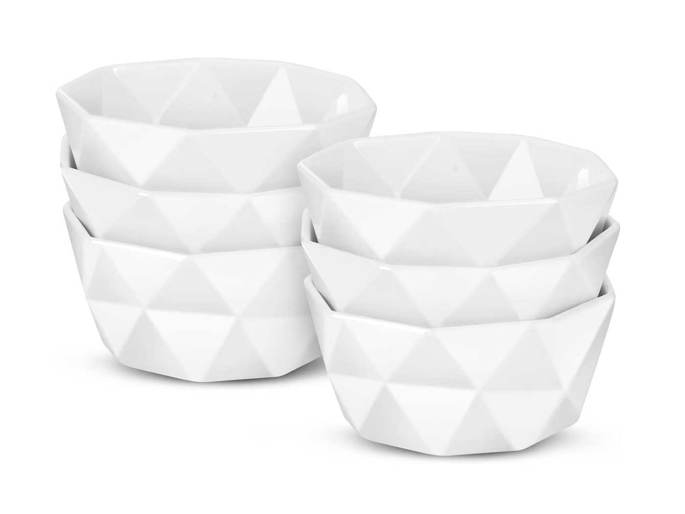 Delling Geometric 8 Oz Porcelain Ramekins/Dessert Bowls,Durable Creme Brulee Dishes Ramekin for Baking, Dessert, Ice Cream, Snack, Souffle - Ramekins Oven Safe -White Ceramic Small Bowl Set of 6