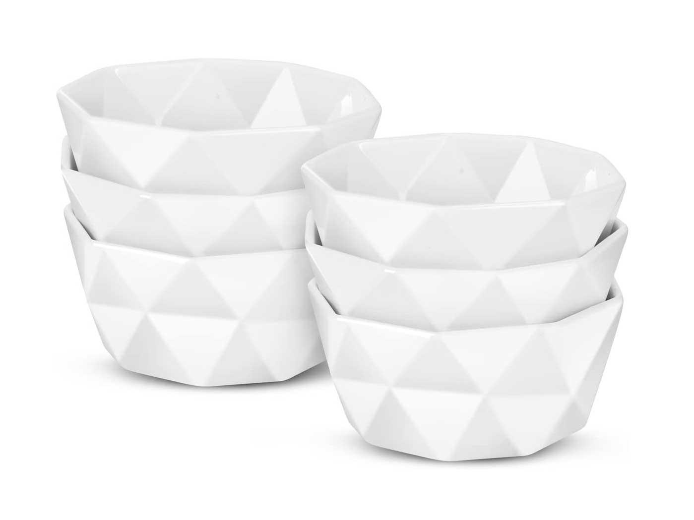 Delling Geometric 8 Oz Porcelain Ramekins/Dessert Bowls,Durable Creme Brulee Dishes Ramekin for Baking, Dessert, Ice Cream, Snack, Souffle - Ramekins Oven Safe -White Ceramic Small Bowl Set of 6