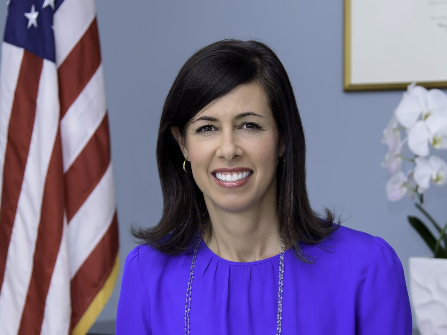 A headshot of Jessica Rosenworcel, acting chair of the FCC.