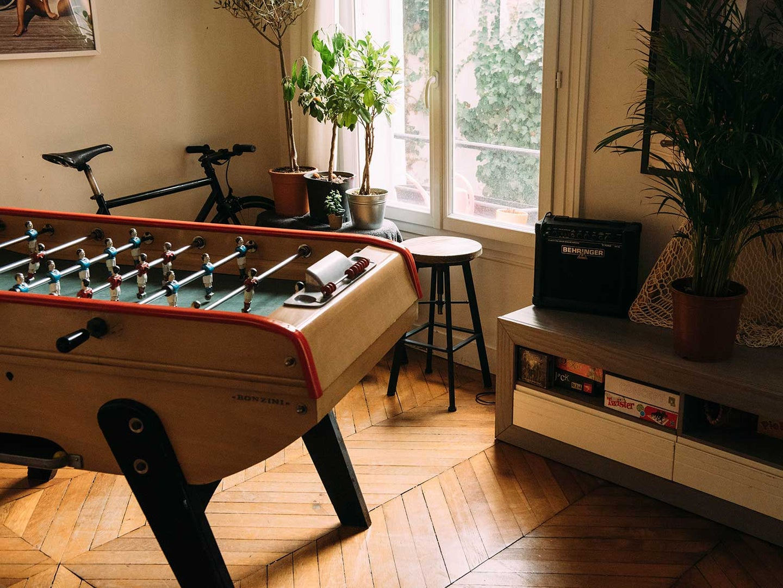 Foosball table in entertainment room.