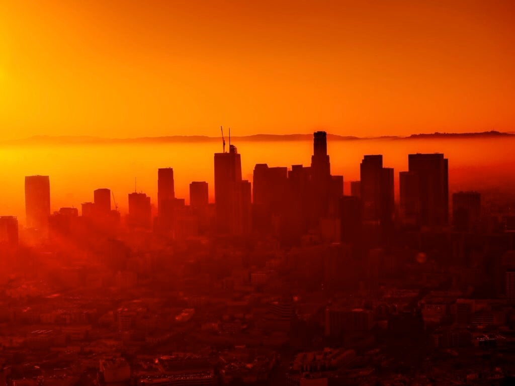skyline of los angeles backlick by sunsest