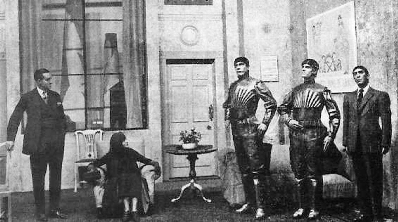 """Karel Čapek's play """"R.U.R."""" in 1921"""