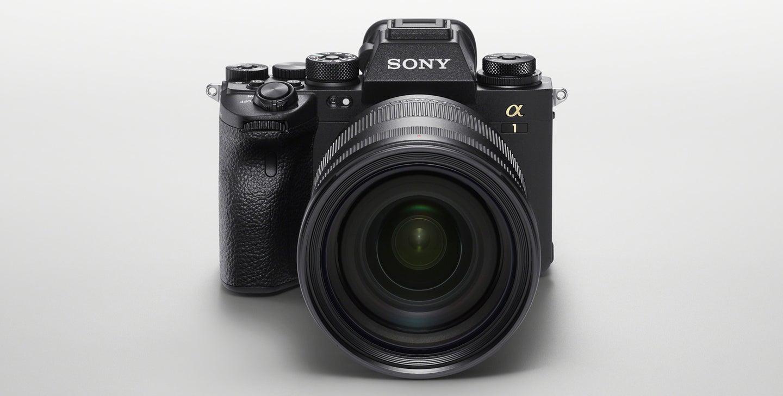 Sony Alpha 1 flagship mirrorless camera on white.