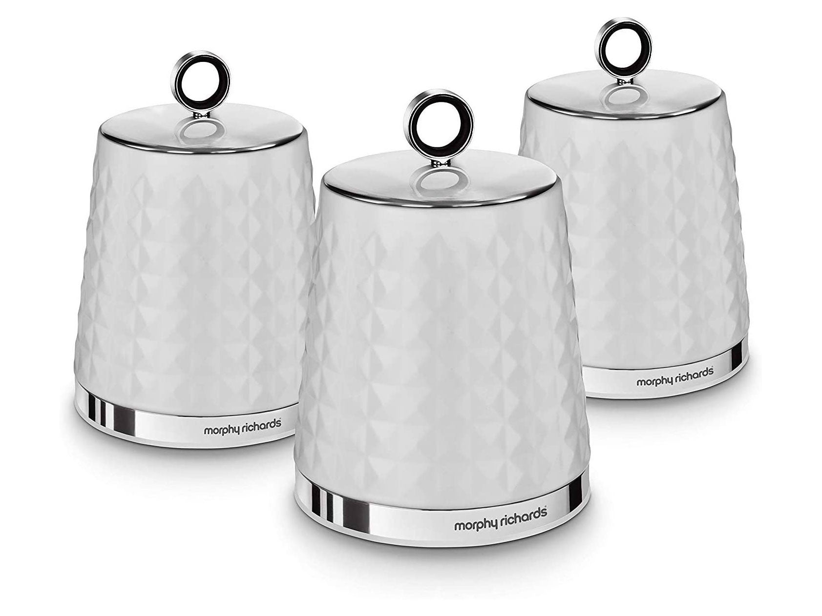Morphy Richards Dimensions Set of 3 Round Kitchen Storage Canisters, White, One size