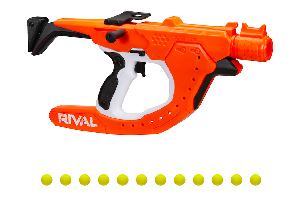 Nerf's Rival blaster can shoot curved shots with small yellow balls.