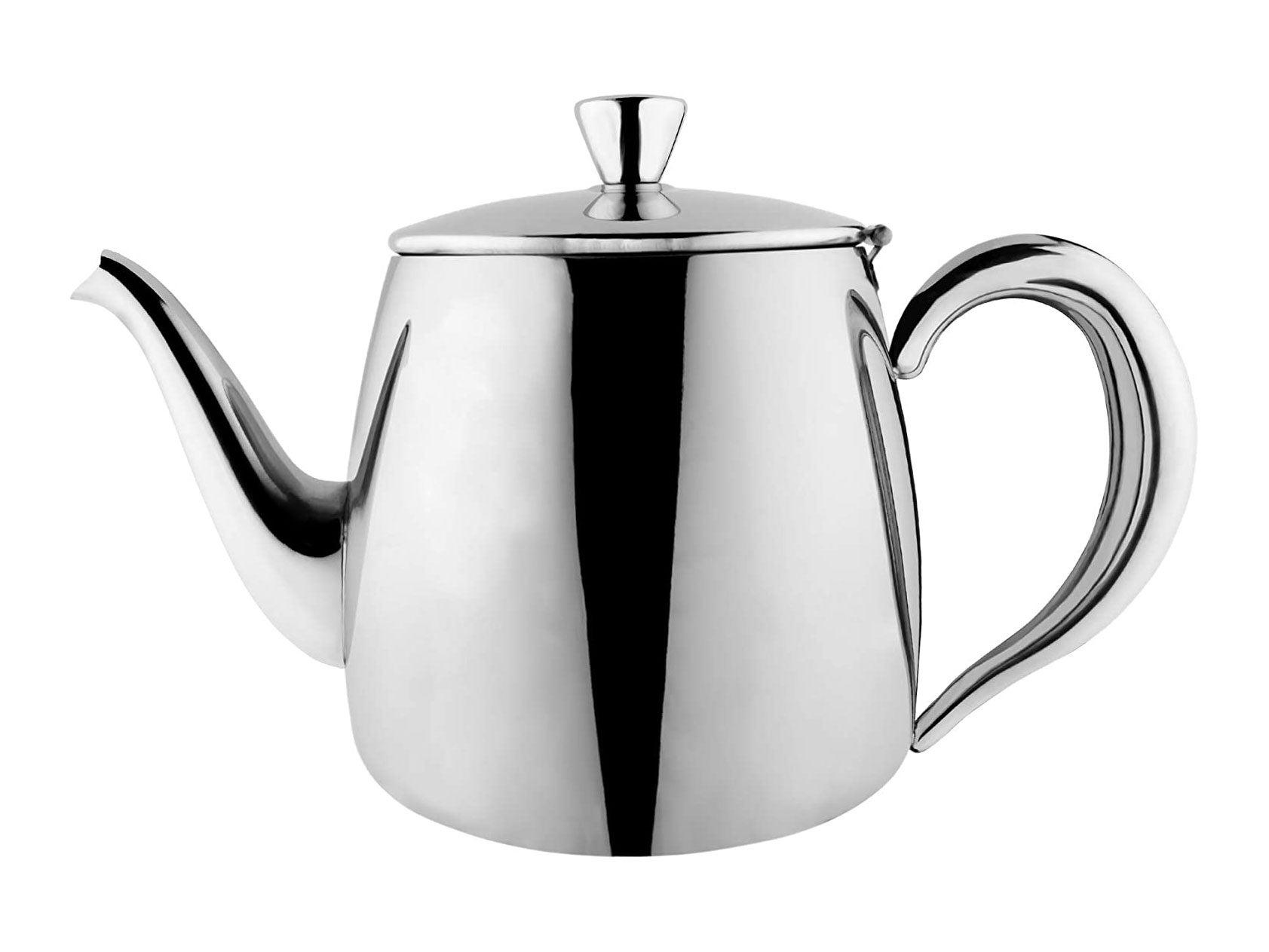 Café Olé  Premium Tea Pot, 18/10 Stainless Steel, Mirror Polished, 24oz, Stay Cool Hollow Handles, Perfect Pour Spout, Silver