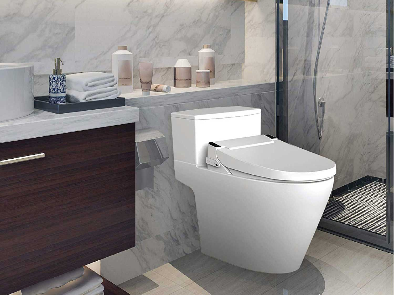 VOVO electronic bidet smart toilet seat in bathroom.