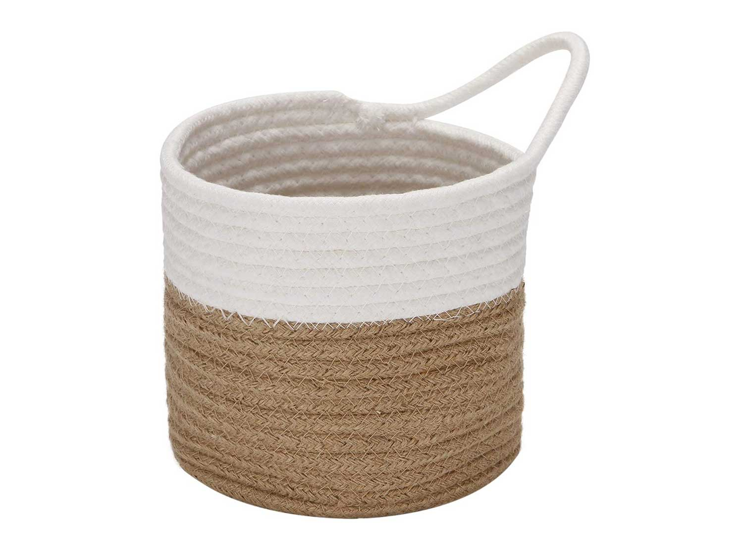 Sea Team Hanging Cotton Rope Baskets, 6.7 Inches Small Woven Storage Basket, Bike Hang Bag, Fabric Planter, Pot, Wall, Door Organizer for Keys, Wallets, Sunglasses, (Flaxen & White)