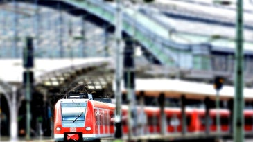 train coming out of station