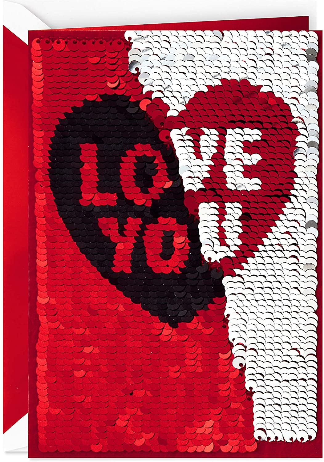 Valentine's day cards with reversible red/black and silver/red sequins that say