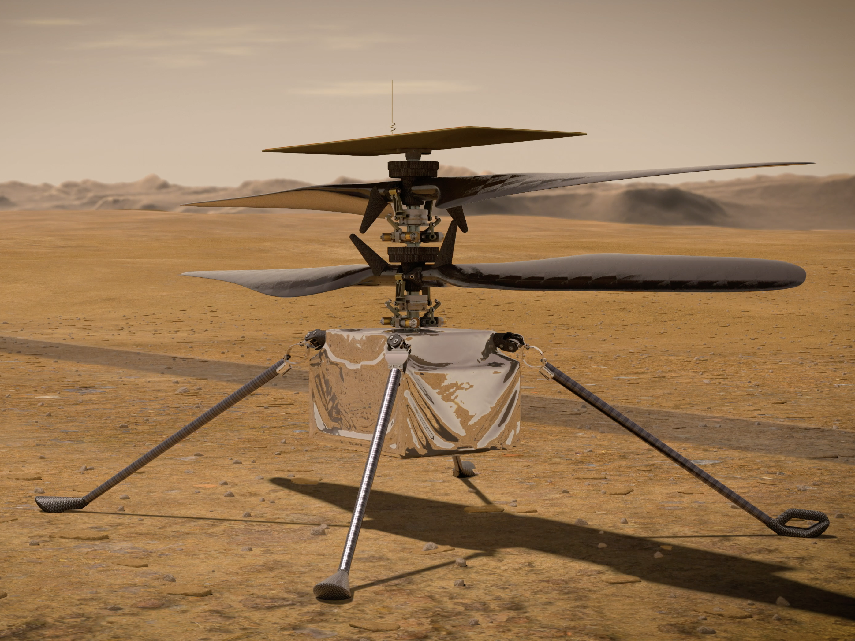 An artist's impression of the Ingenuity helicopter on the surface of Mars.