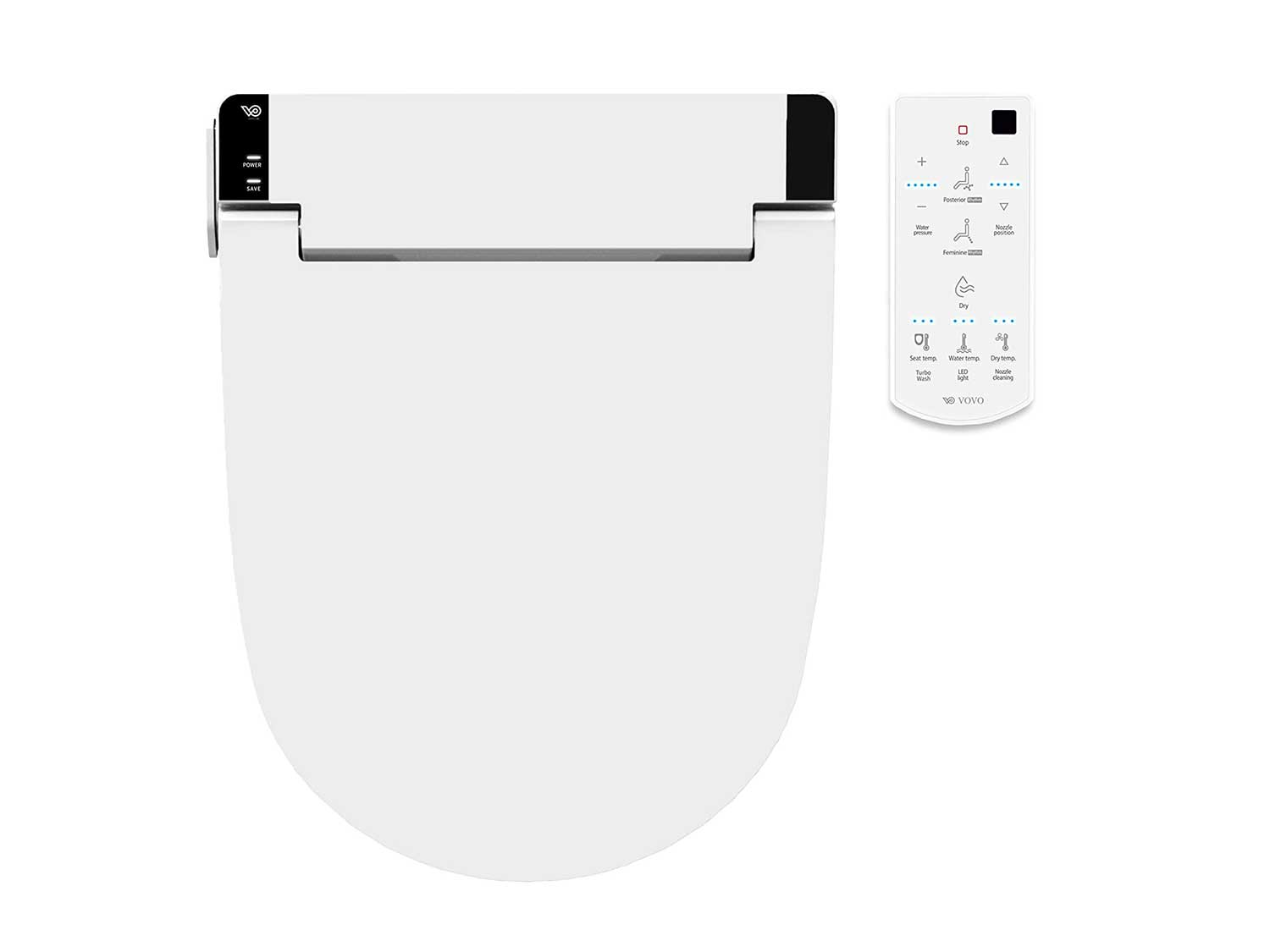 VOVO STYLEMENT VB-6100SR Electronic Bidet Seat, Round, Easy Install, Heated Seat, Warm Dry and Water, LED Nightlight, Eco Power Save,Self Cleaning Full Stainless Nozzle, Made in Korea - White