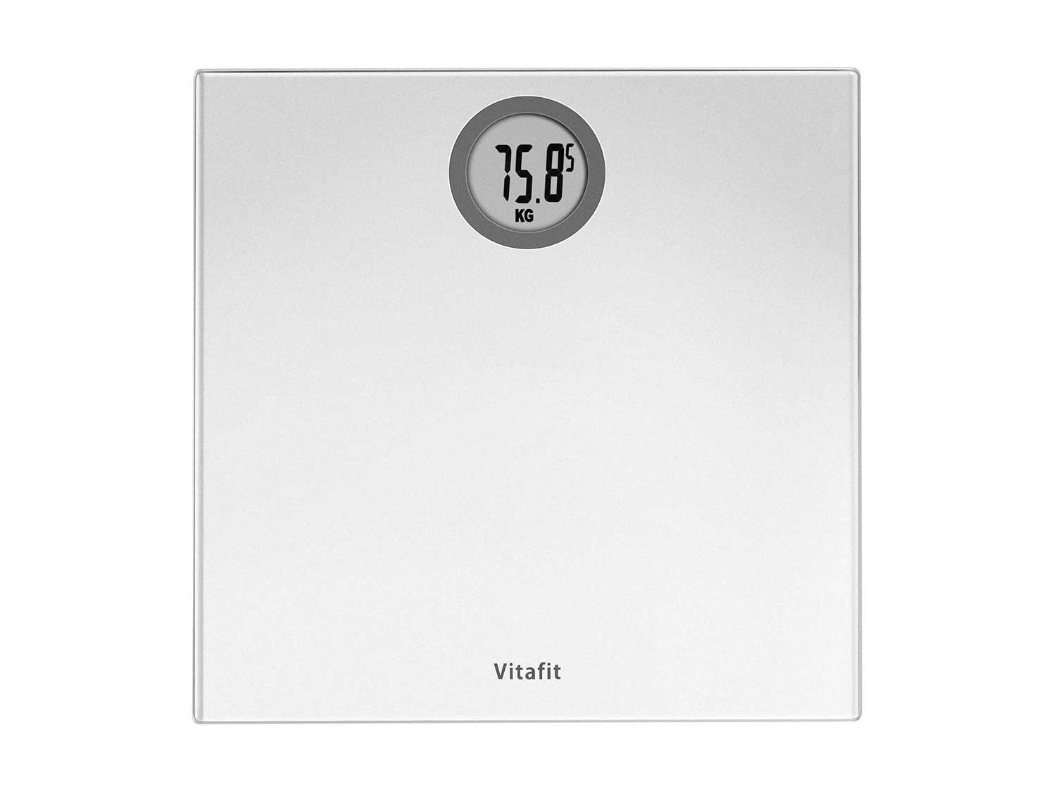 Vitafit Digital Body Weight Bathroom Scales Weighing Scales with Step-On Technology, LCD Display(Stone/kgs/lbs),Tempered Glass Silver