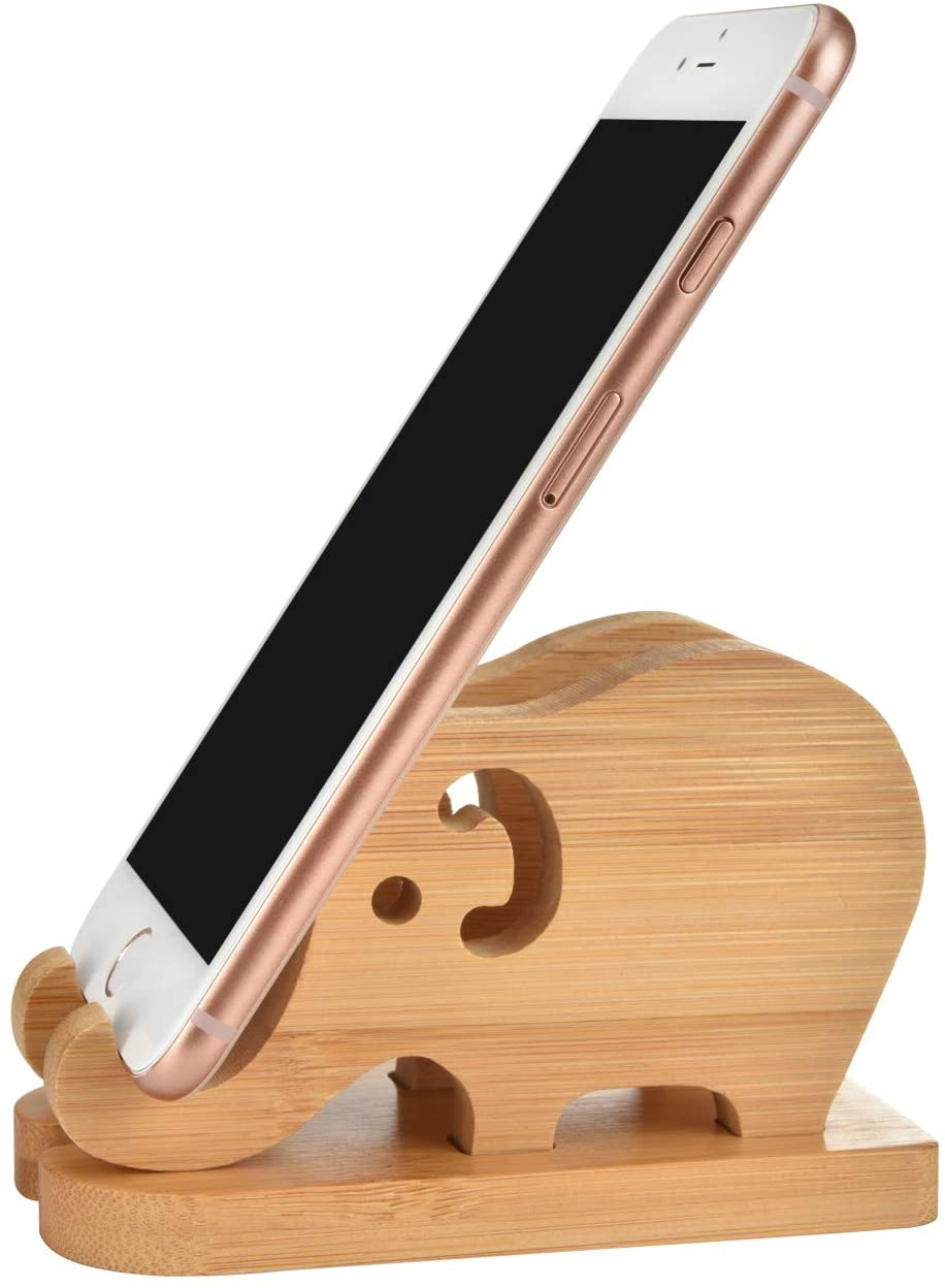 Bamboo elephants with a smartphone balanced between their trunks, the best phone holders shaped like elephants