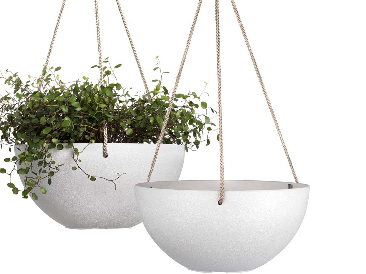 LA JOLIE MUSE White Hanging Planter Basket- 25 CM Indoor Outdoor Flower Pots, Plant Containers with Drainage Hole, Plant Pot for Hanging Plants, Pack 2