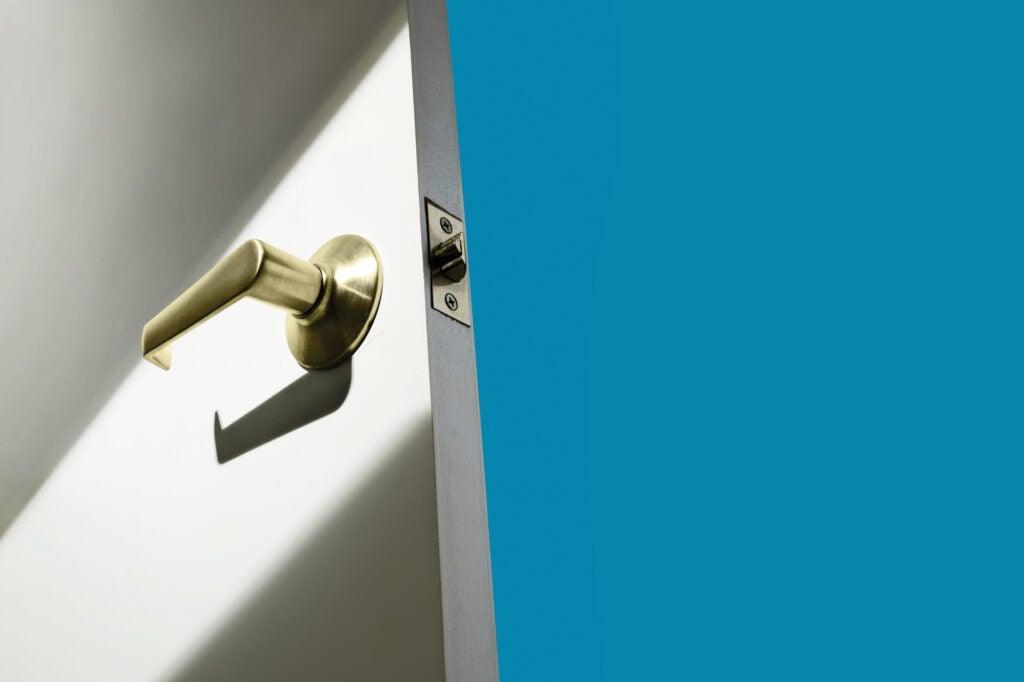 lever style door knob and door on blue background
