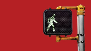 pedestrian traffic light with red background