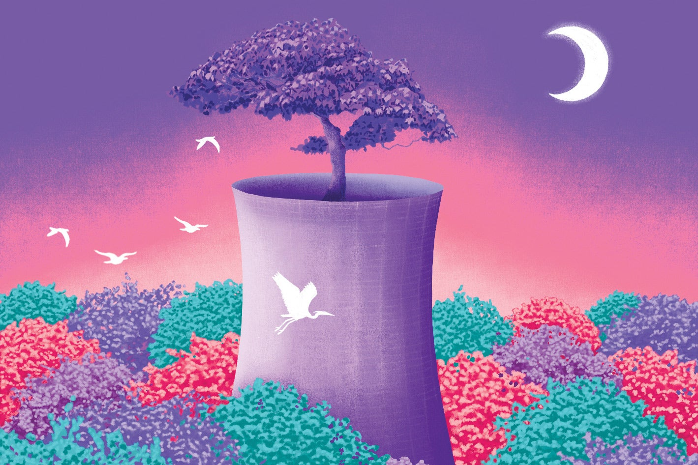White birds on a pink, purple, and green illustration of the Fukushima nuclear plant