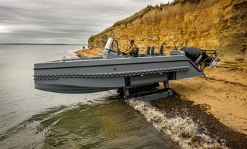 This fast French military boat can crawl from water to land without wheels