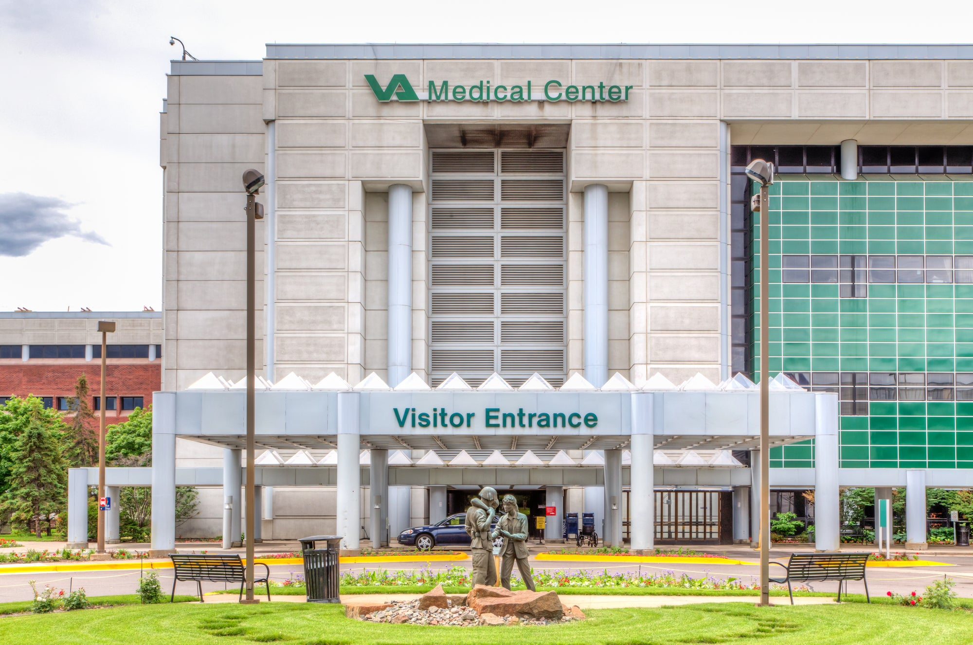 The visitor entrance of the Minneapolis VA Medical Center