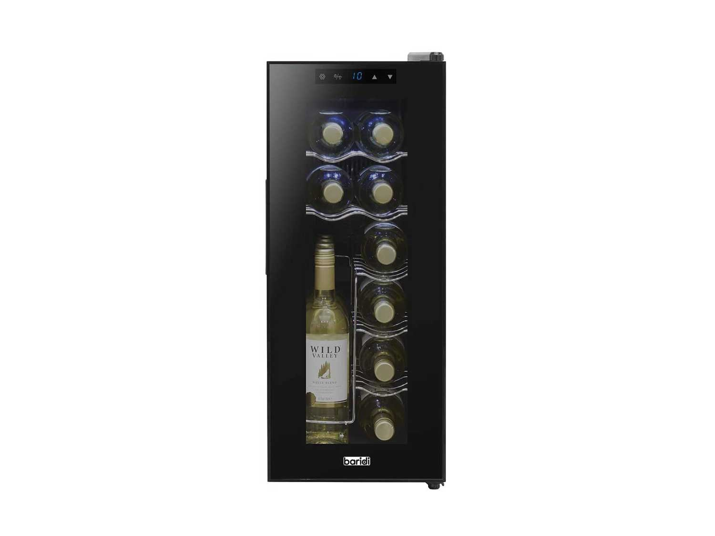 Baridi Wine Cooler/Fridge, Digital Touch Screen Controls, LED Light, Energy Class A, 12 Bottle - Black