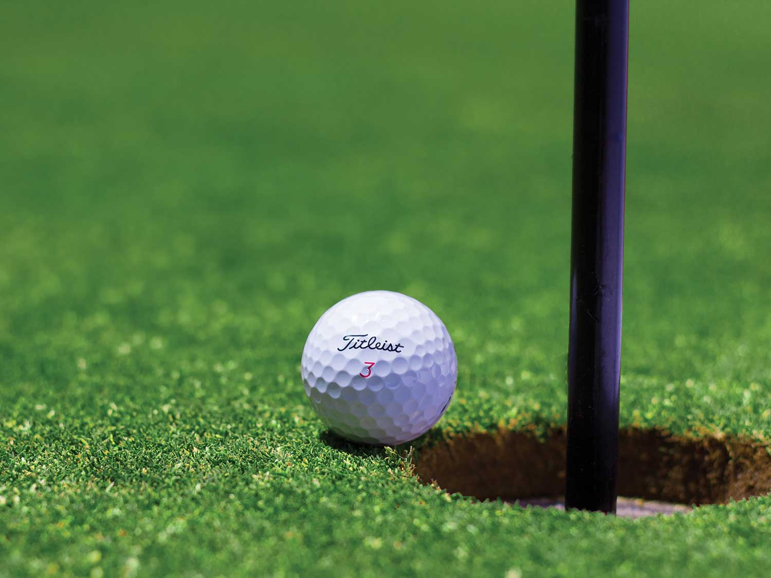 Golf ball on green about to roll in hole.