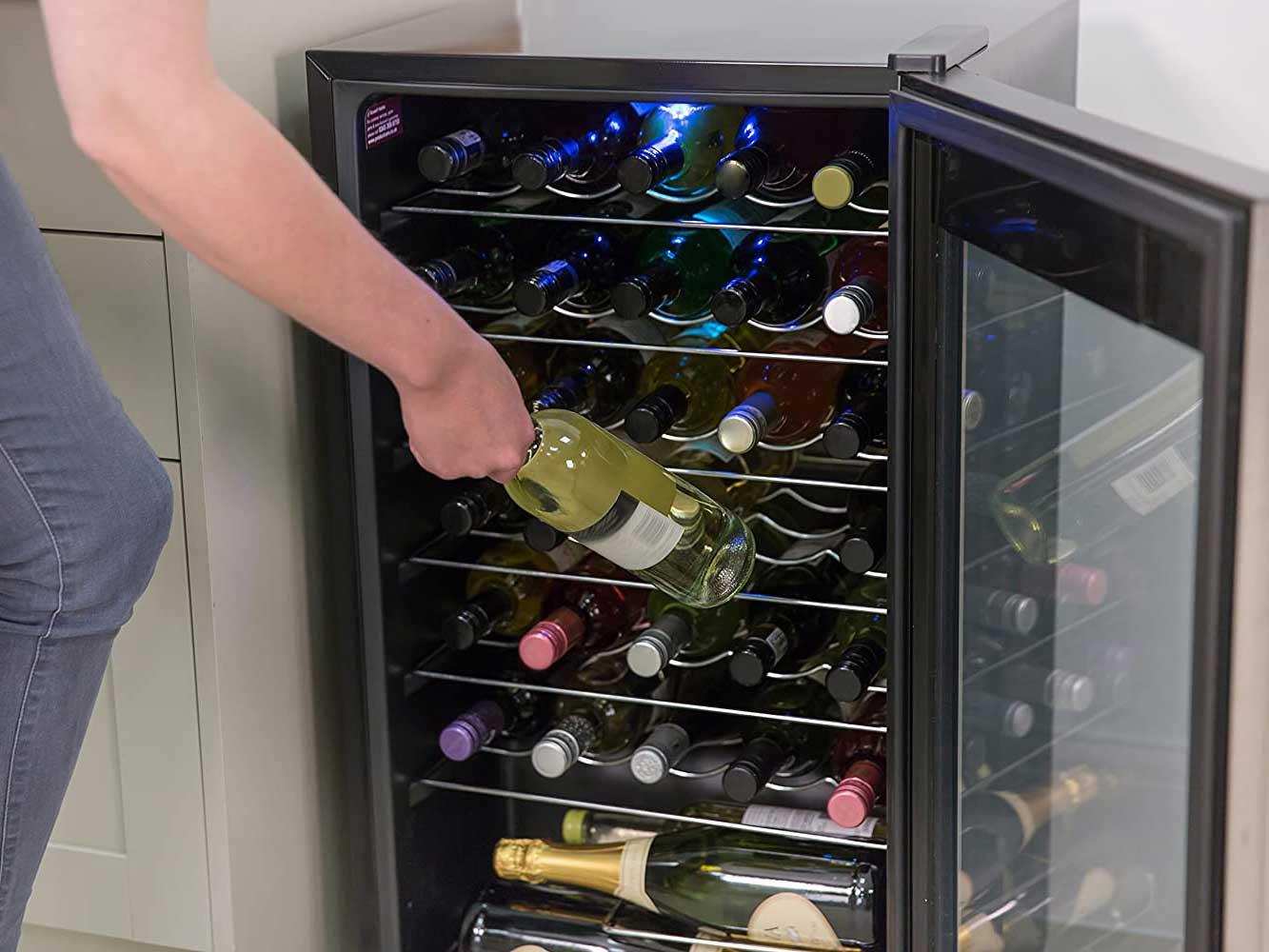 Putting wine in wine cooler
