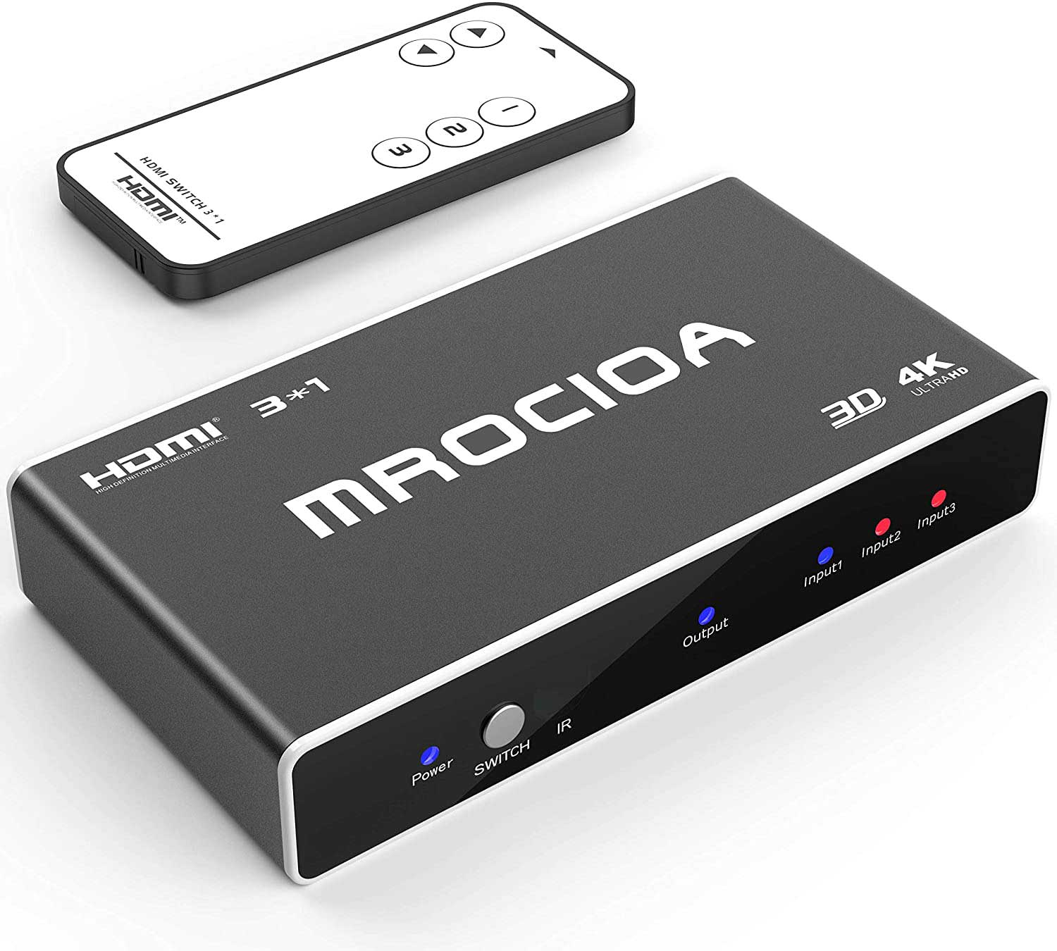 Hdmi Switch, mrocioa 3 Port input 1 out 4K Hdmi Switcher Box with Remote. Hdmi Splitter 4K Hub. Support PS4/ Xbox One/Fire TV/Apple TV/SKY BOX/STB/DVD/Laptop/Roku.