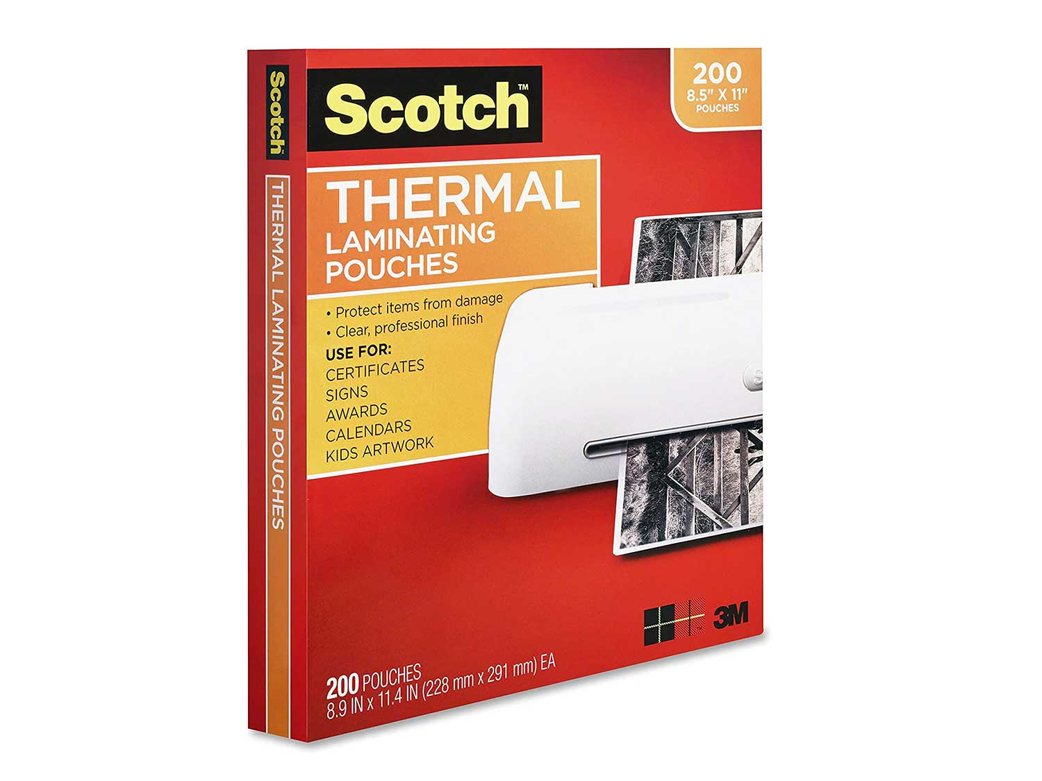 Scotch Thermal Laminating Pouches, 3 Mil thick, Durable, Clean Finish, Professional Quality, 8.9 x 11.4 Inches, Letter Size Sheets, 200-Pack, Clear (TP3854-200)