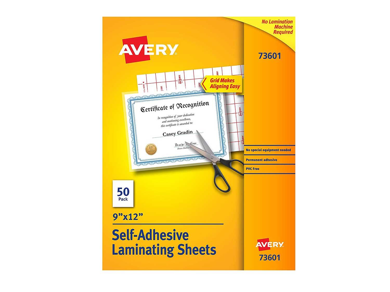 Avery 73601 Self-Adhesive Laminating Sheets, 9 x 12 Inch, Permanent Adhesive, 50 Clear Laminating Sheets