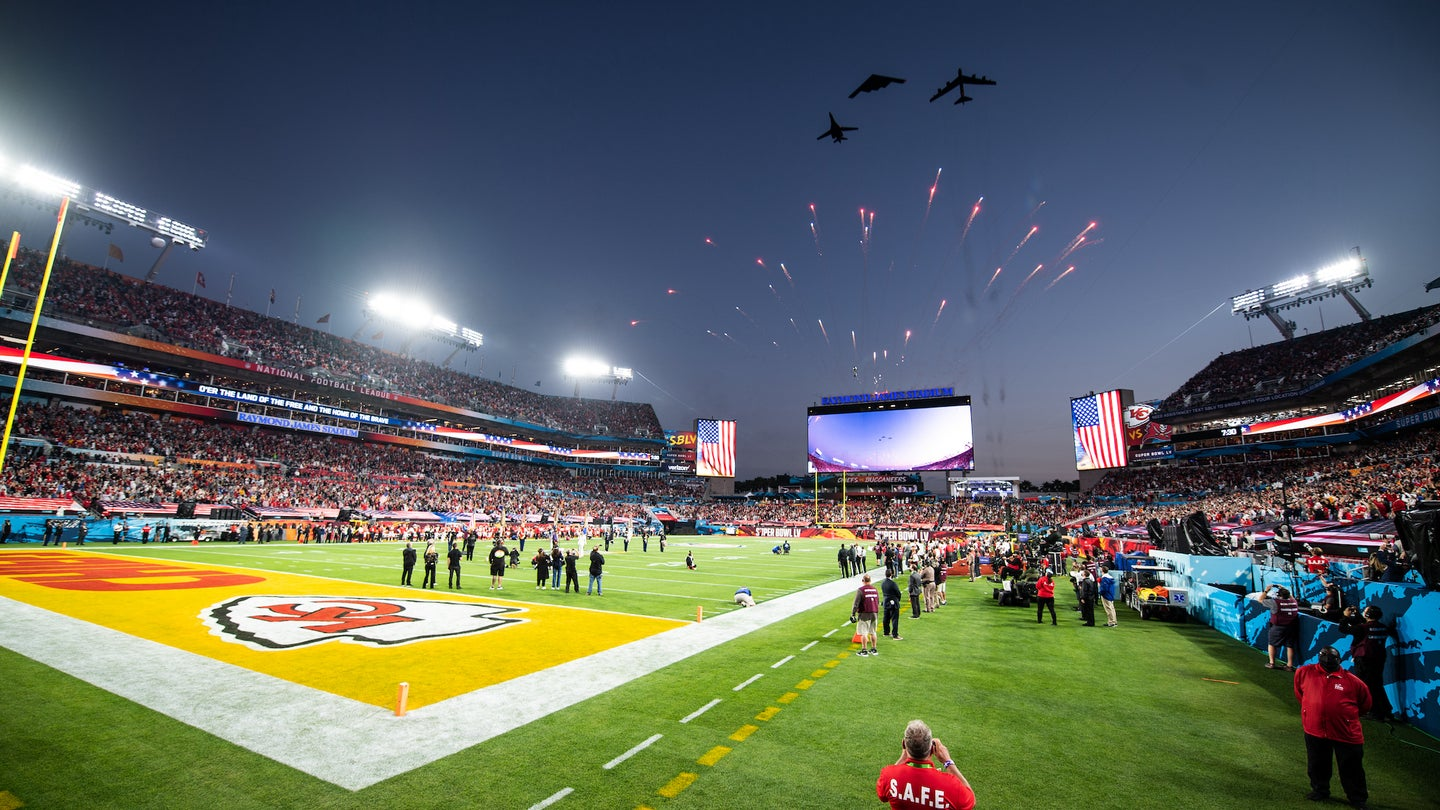 Three U.S. Air Force bombers fly over Super Bowl LV.