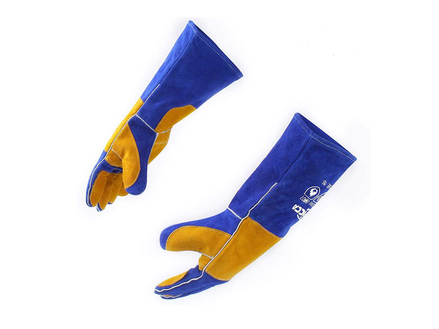 RAPICCA 16 Inches,932℉, Leather Forge/Mig/Stick Welding Gloves Heat/Fire Resistant, Mitts for Oven/Grill/Fireplace/Furnace/Stove/Pot Holder/Tig Welder/Mig/BBQ/Animal handling glove with 16 inches Extra Long Sleeve– Blue