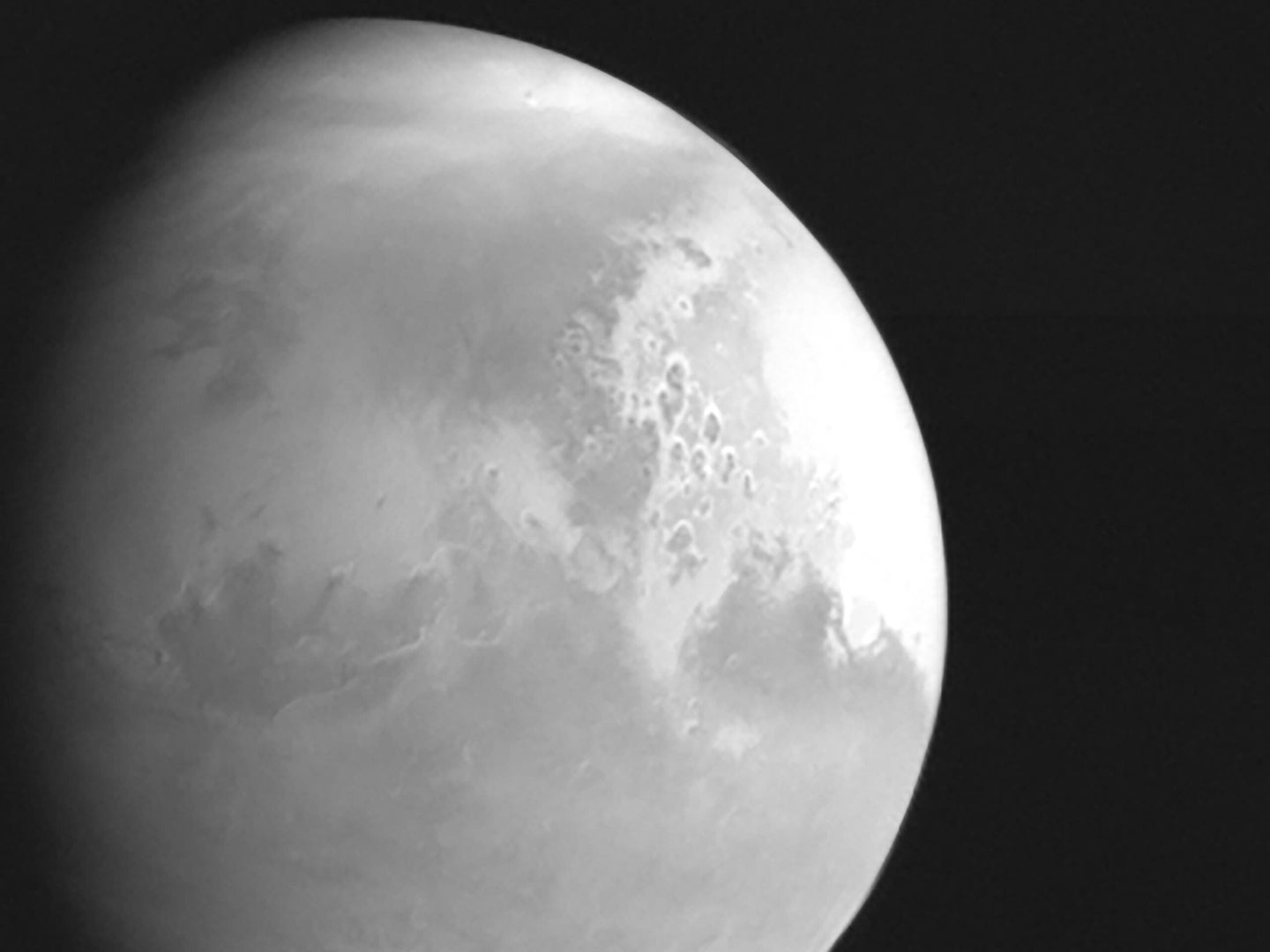 A close-up shot of Mars taken in black-and-white by the Chinese Tianwen-1 probe.