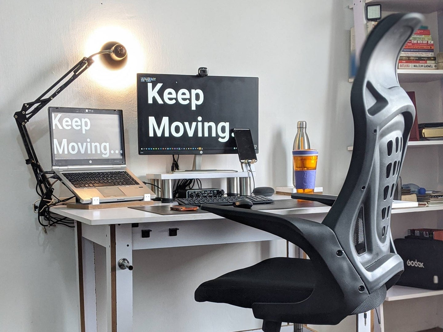 Work space at home with ergonomic chair.