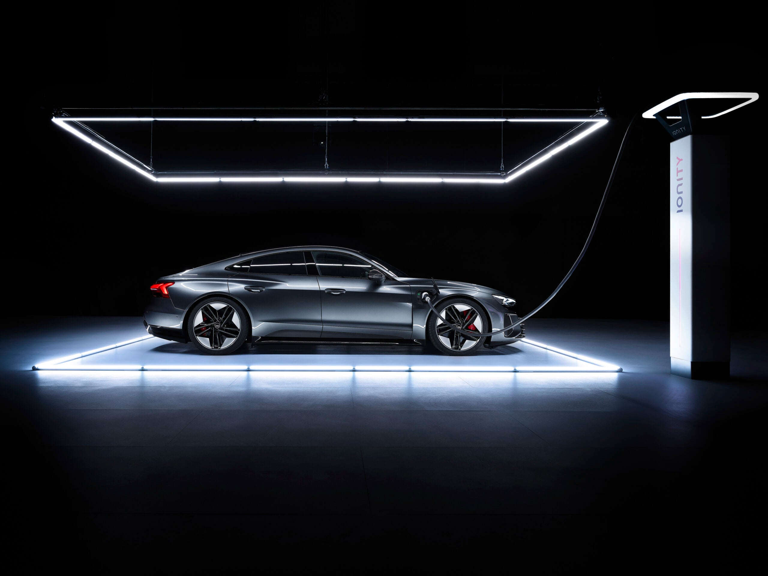 Audi e-tron electric car on the charger