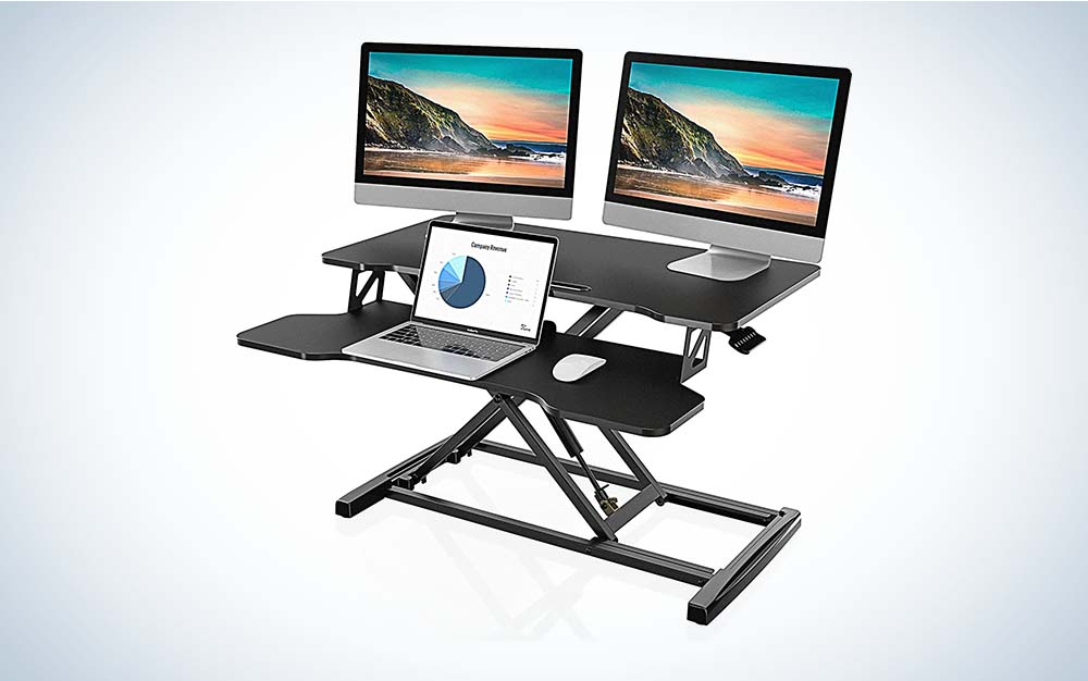 The FITUEYES Height-Adjustable Standing Desk Converter is the best standing desk for value