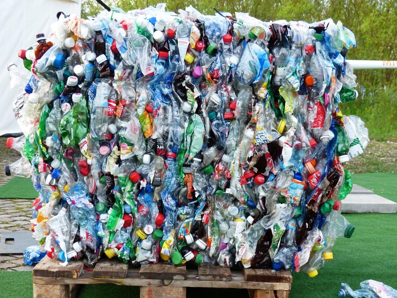 plastic bottles bound together