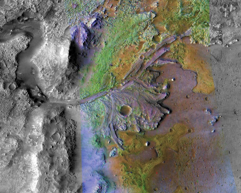 The Jezero Crater as captured from orbit.