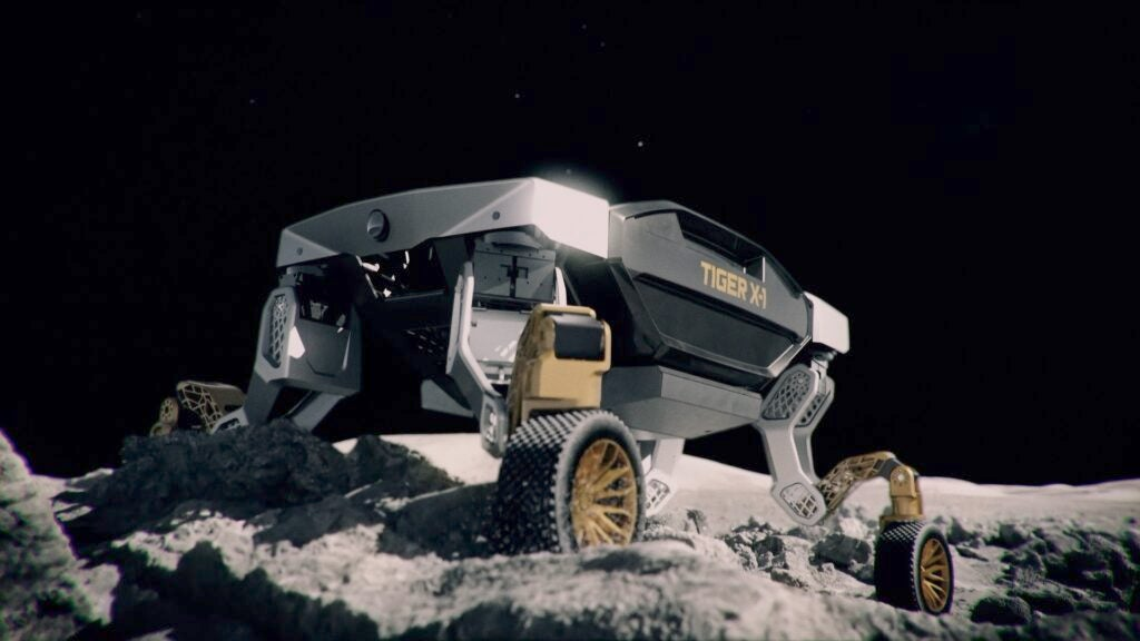 Hyundai Tiger climbing over a moon-like terrain.